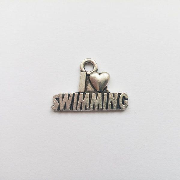 Fém függő fityegő charm ezüst színű úszás I love swimming sport