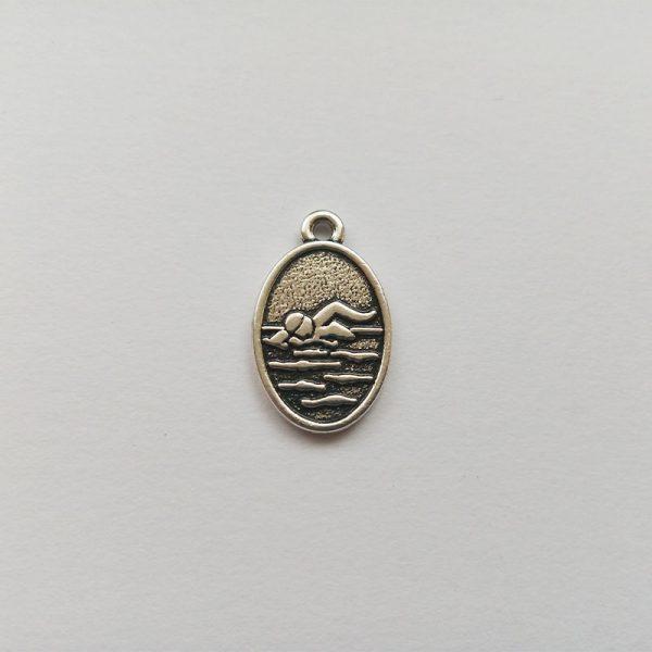 Fém függő charm fityegő ezüst színű sport úszás úszó