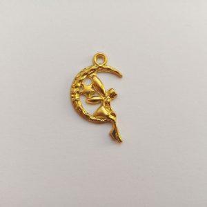 Fém függő fityegő charm arany színű mesebeli tündér charm