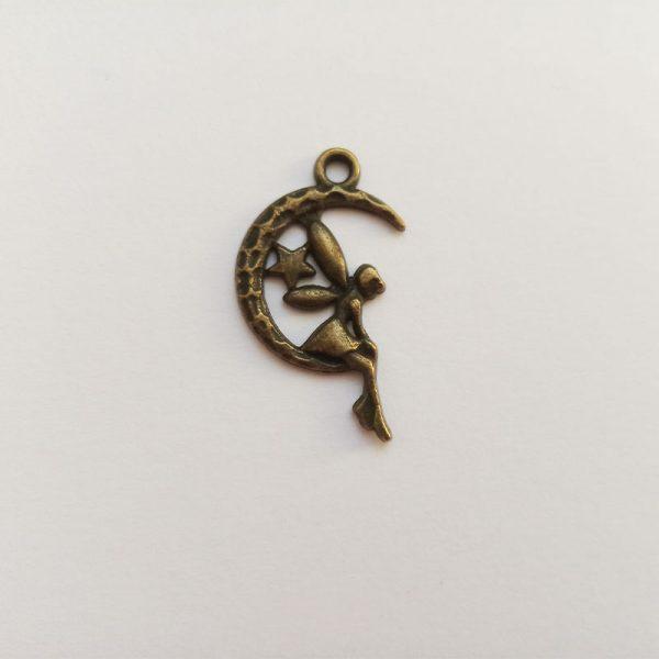 Fém függő fityegő charm bronz színű mesebeli tündér charm