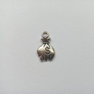 Fém függő charm fityegő ezüst színű pénzeszsák könyvelő