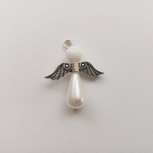 Fehér viaszgyöngy angyal charm fityegő charm