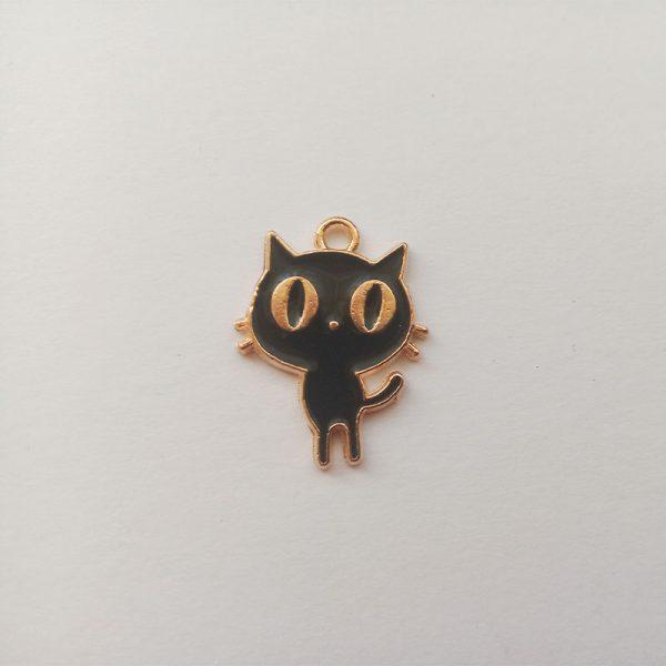 Extra függő állatok cica fekete nagy szemű charm fityegő