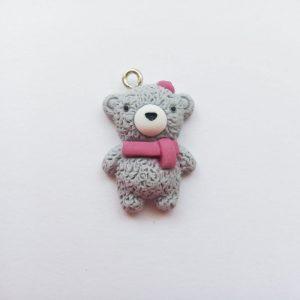 Domború maci sállal extra függő szürke 3 D állat charm fityegő medve