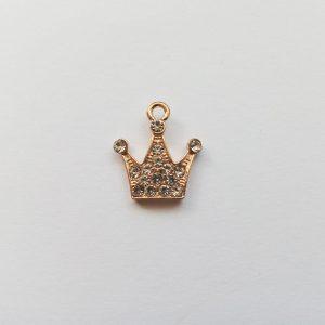 Extra függő charm fityegő arany színű strasszos korona királynő hercegnő