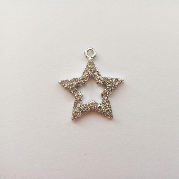 Extra függő ezüst színű strasszos csillag charm csillogó fityegő