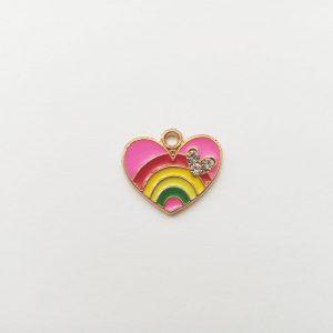 Extra függő szivárványos strasszos szív charm fityegő szeretet szerelem