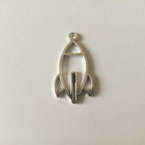Fém függő fityegő charm ezüst színű rakéta űr űrutazás