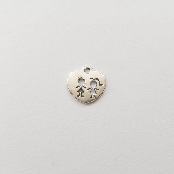 gyerekek charm gyerekpár fém függő ezüst színű fityegő