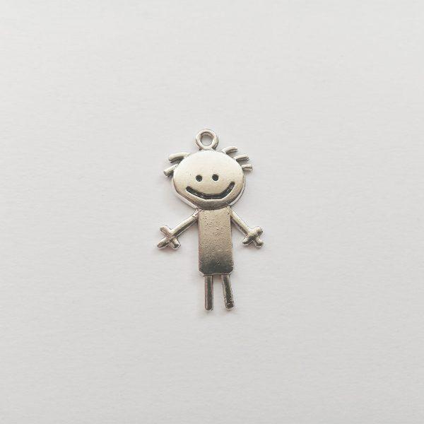 Fiú charm mosolygós fém függő ezüst színű fityegő