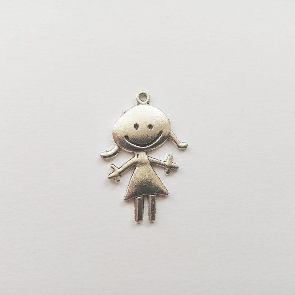Lány charm mosolygós fém függő ezüst színű fityegő