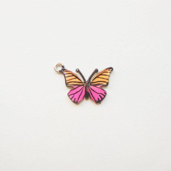 Extra függő állatok pillangó rózsaszín sárga charm